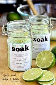 DIY Lime & Mint Foot Soak....I might try Lavender Mint