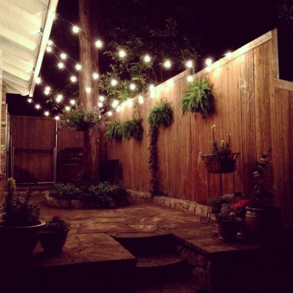 Outdoor String Lights On Fence : 30 best Backyard images on Pinterest Backyard ideas, Outdoor spaces and Patio ideas