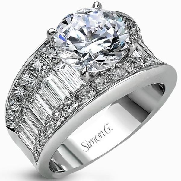 "Simon G 18K White Gold Large Center ""Simon Set"" Diamond Baguette Engagement Ring with 1.87 Carats Princess Cut & 1.67 Carats Baguette Cut Diamonds. Style MR1922"
