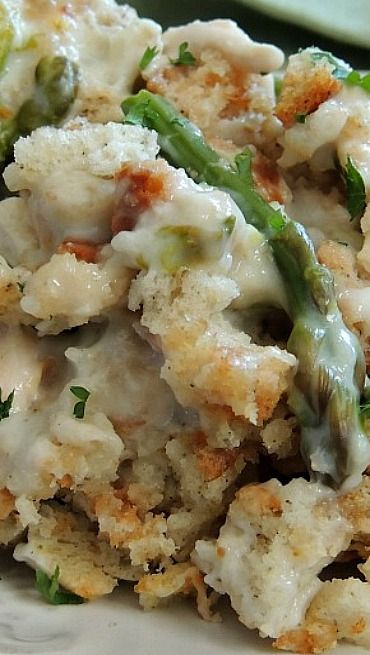 Creamy Chicken & Asparagus Casserole... this recipe calls for a half cup of mayo.... Def gonna sub that...