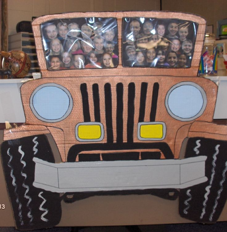 A friend and I created this cute jeep to tape to the front of my desk. The children were so excited to see themselves as the passengers!