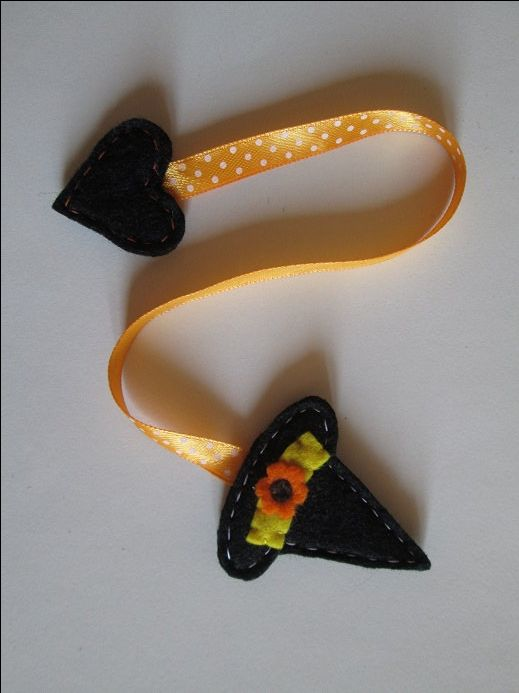 Witch Hat bookmark - Felt bookmark - Halloween Crafts di TinyFeltHeart su Etsy