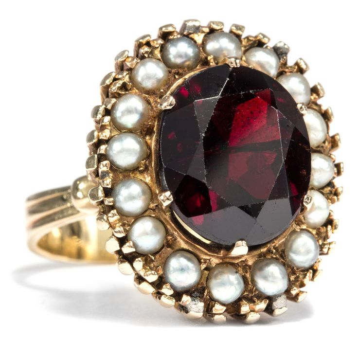 Antique gold, garnet and pearl