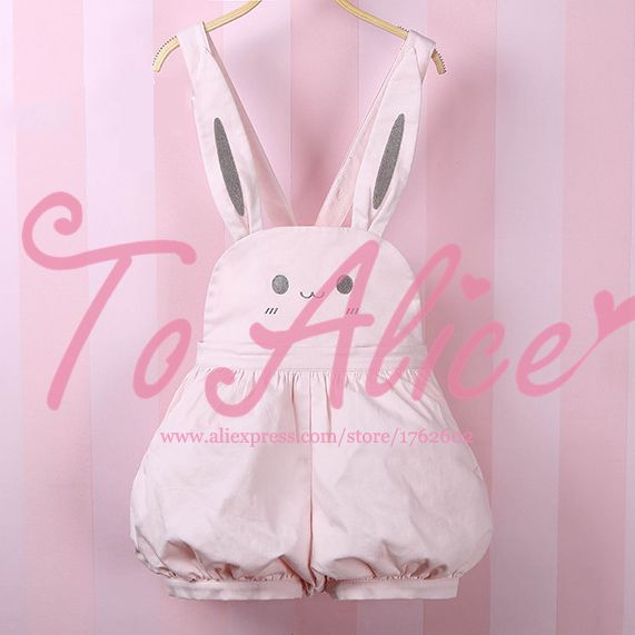 Find More Jumpsuits & Rompers Information about Super Cute Girls Pink Rabbit Bunny Ears Overall Shorts Lolita Dungarees Shartall Rompers Adjustable Length,High Quality romper fashion,China girls leopard print dress Suppliers, Cheap romper baby from Meow Girl on Aliexpress.com