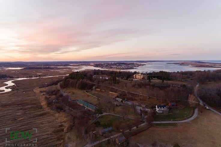 Drone photo of Crane Estate at sunset Ipswich Massachusetts BDW Photography