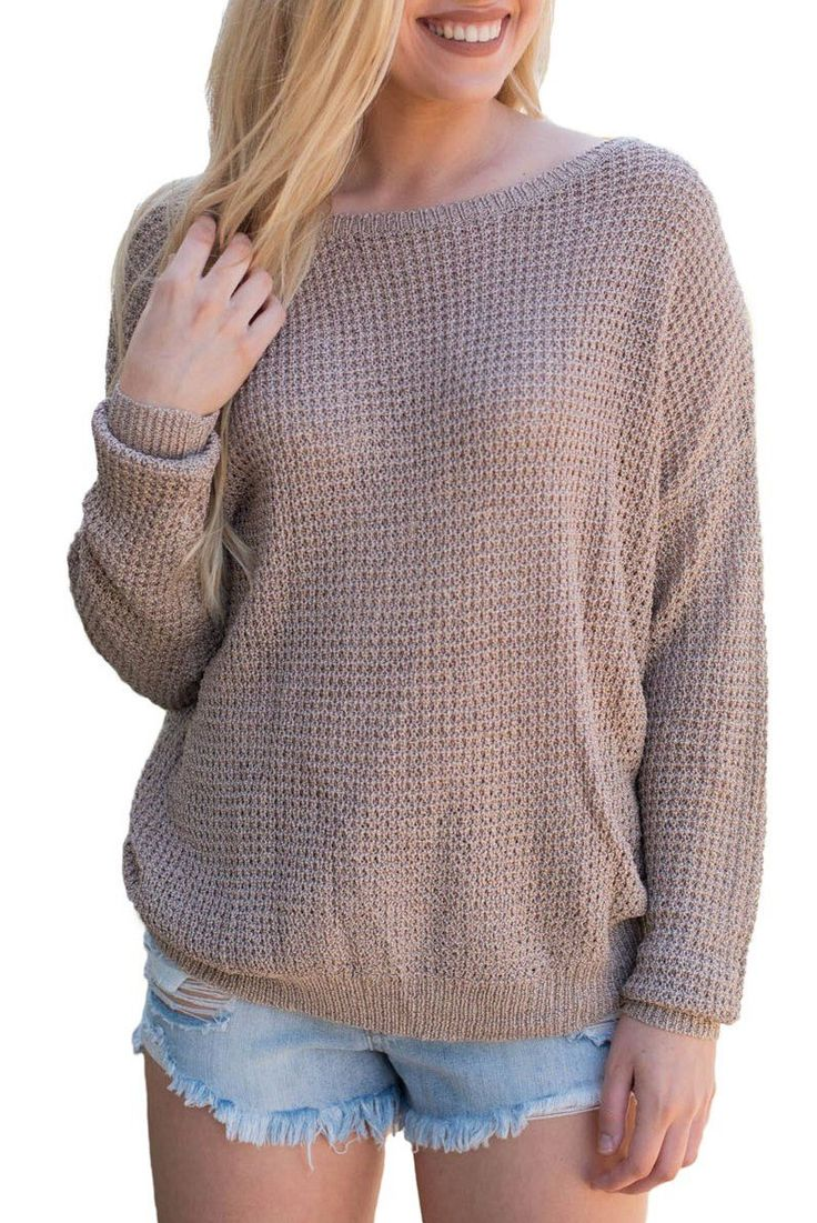 Khaki Cross Back Hollow-out Long Sleeve Sweater modeshe.com