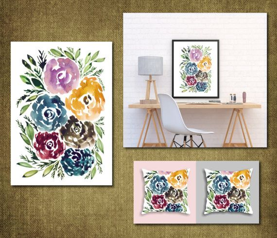 Digital/Printable Hand painted flowers by Aticnomar on Etsy
