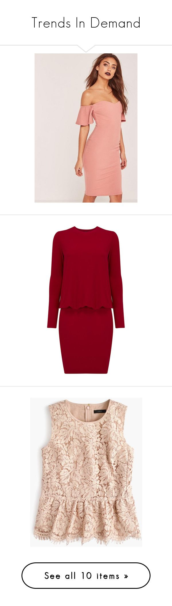 """""""Trends In Demand"""" by marinavl ❤ liked on Polyvore featuring dresses, rose, body con dresses, midi cocktail dress, red bodycon dress, pink dress, red dress, red, long-sleeve maxi dresses and long fitted dresses"""