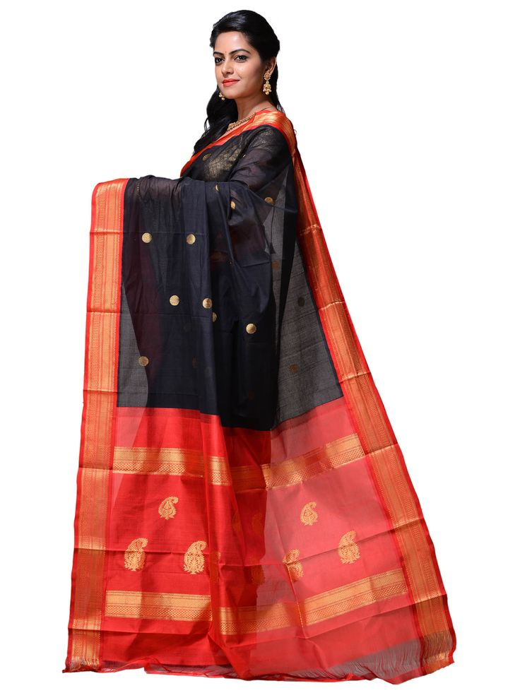 Black & Red Handloom Silk Gadwal Saree...g0101b