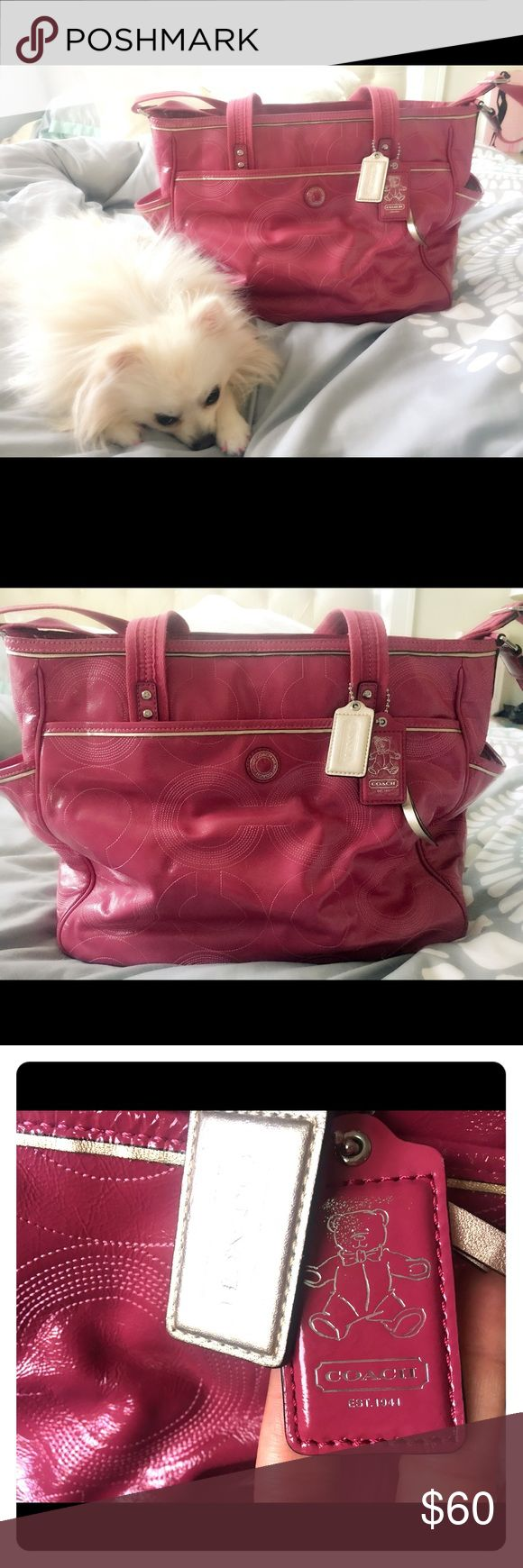 Gorgeous Patent leather PINK COACH diaper bag Cutest diaper bag ever.  I used it only a handful of times to carry paperwork and make up.  It's very clean and excellent condition. Smoke free home of course. Coach Bags Baby Bags
