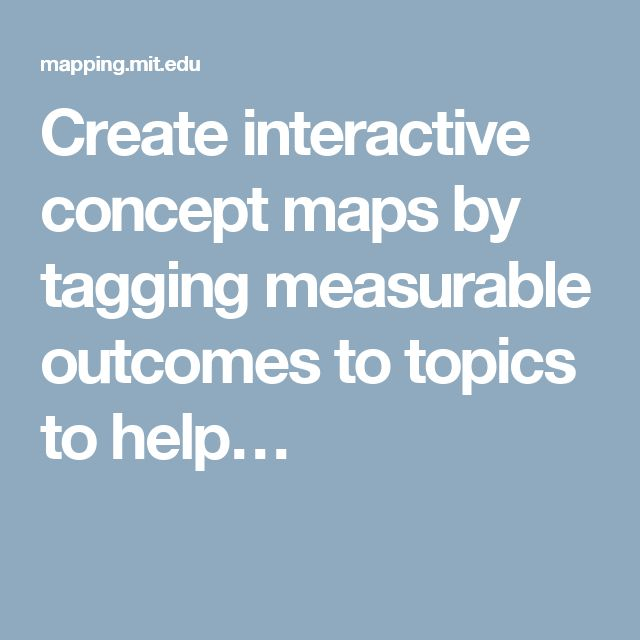 Create interactive concept maps by tagging measurable outcomes to topics to help…