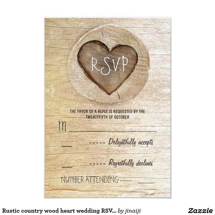 Rustic country wood heart wedding RSVP cards Vintage rustic country wedding reply cards with carved tree wooden heart