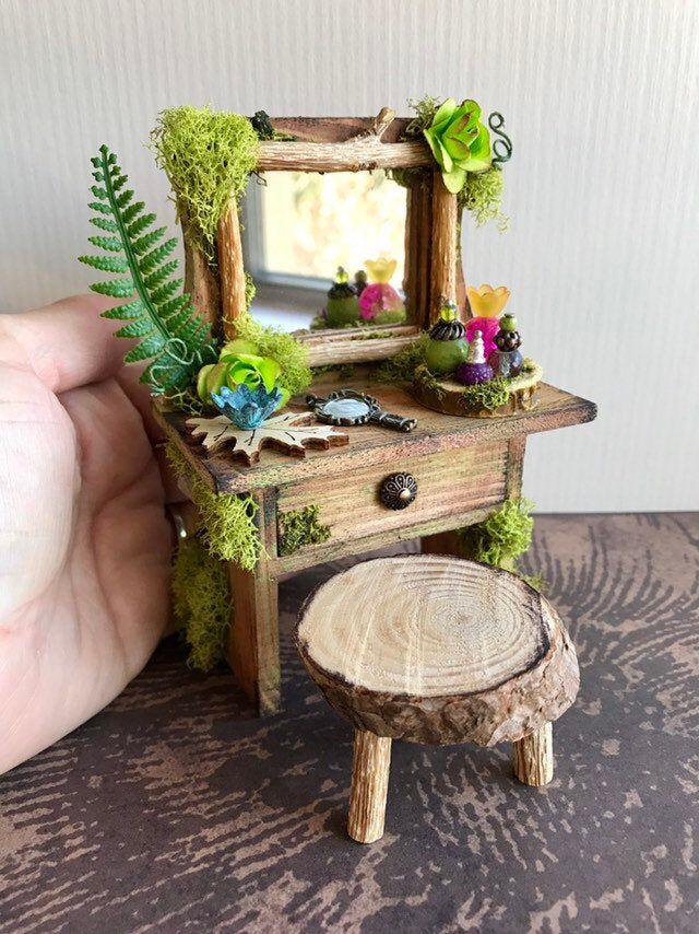 Miniature Fairy Vanity Garden, Diy Miniature Fairy Garden Furniture
