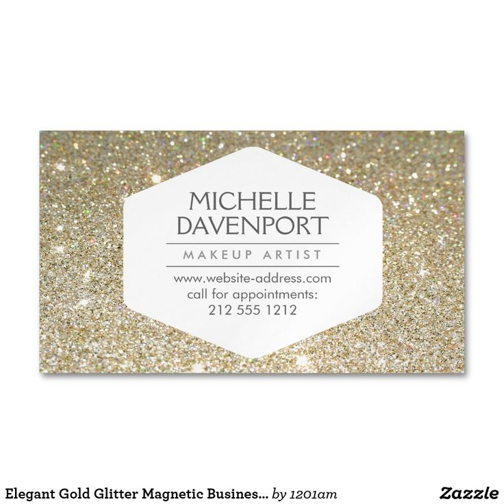 Elegant Gold Glitter Magnetic Business Card Coordinates with the ELEGANT WHITE EMBLEM ON GOLD GLITTER BACKGROUND Business Card Template by 1201AM. An elegant and modern white hexagon badge stylishly holds your name or business name while surrounded by a faux glittery gold background. Use these magnetic business cards for giveaways to your clients. Your contact info is prominently displayed… a great reminder to call for appointments! © 1201AM CREATIVE