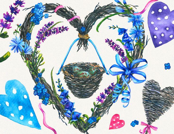 flower clipart, lavender clipart, wild flowers