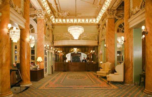 Gilded Age gem, The Wolcott Hotel. Pictured, the Lobby of the Wolcott, in New York City. Constructed at the end of the Gilded Age c.1904.