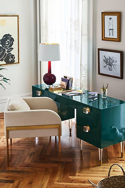 When in doubt, add a bold desk to add instant pizazz to any home office!