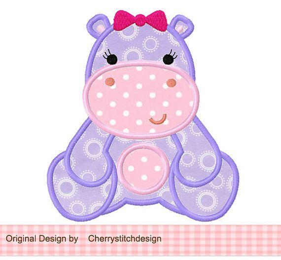 Girly Hippo 02 Applique -4 x 4 5 x 7 6 x 10-máquina bordados apliques diseño