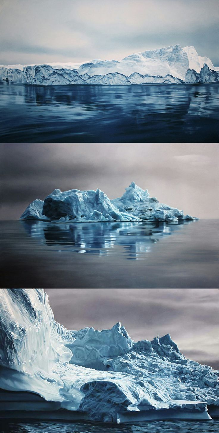 """Beautiful giant pastel icebergs drawn by Zaria Forma. """"Tackling climate change. . . can be challenging endeavors for any artist, but for Brooklyn-based Zaria Forman it was simply an extension of a childhood spent traveling with her family to some of the Earth's most remote locations. For her 2012 project Chasing the Light, Forman led an ambitious art expedition by sailing up the northwest coast of Greenland. . . she documented the changing arctic landscape."""""""