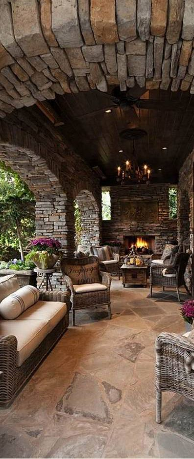 Rustic Outdoor Seating Area   Wow The Stone, Fireplace And Fun Seating  Options Make This Look So Inviting!