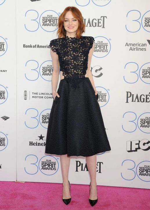 Emma Stone in Monique Lhuillier at the Independent Spirit Awards