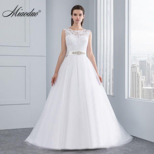 Miaoduo Vestidos de Cetim Backless Vestidos de Casamento Do Vestido de Casamento Novo Casamento Do Laço Nupcial Do Casamento Vestidos de Noiva vestidos de noiva