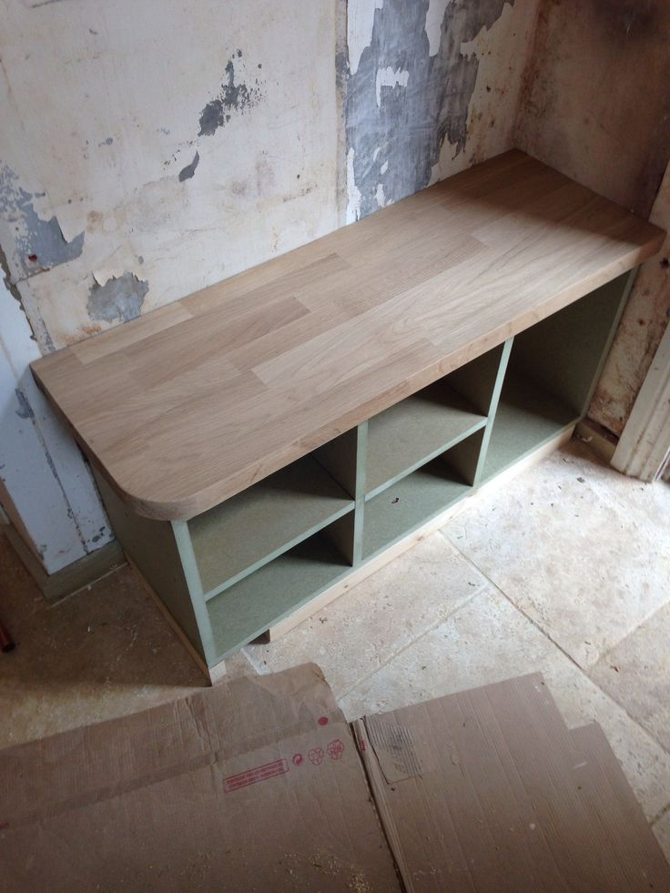 Shoe and boot rack with bench using solid oak worktop has been made.