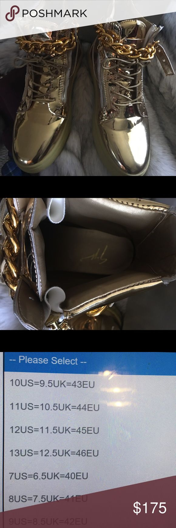 Giuseppe Zanitti inspired Men's Metal Chain Gold May be worn by men and women. These high top Sneakers are new  and too big for me. I wear a women size 11  and miscalculated the conversion.  This is a men size 45  US 12.  Great looking sneaker for men or women Shoes Sneakers