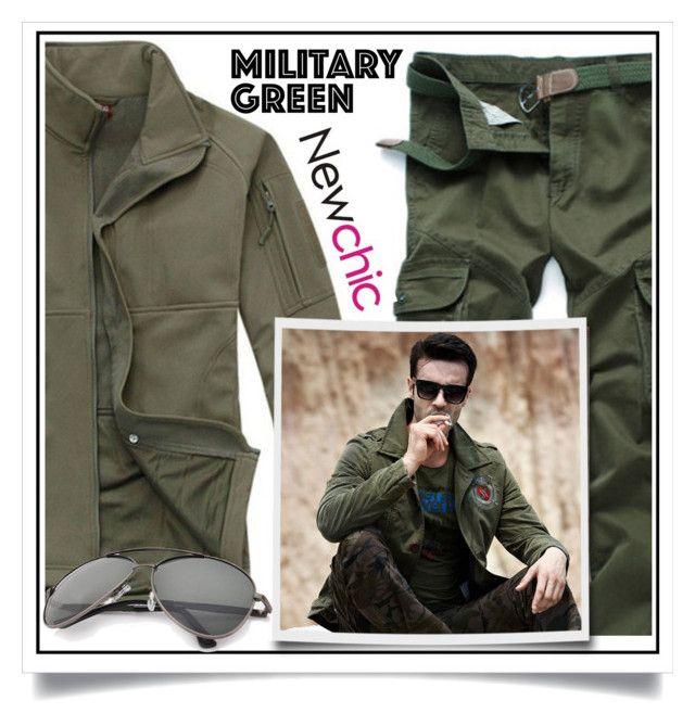 """Newchic - Military Green IV/3"" by ewa-naukowicz-wojcik ❤ liked on Polyvore featuring men's fashion and menswear"