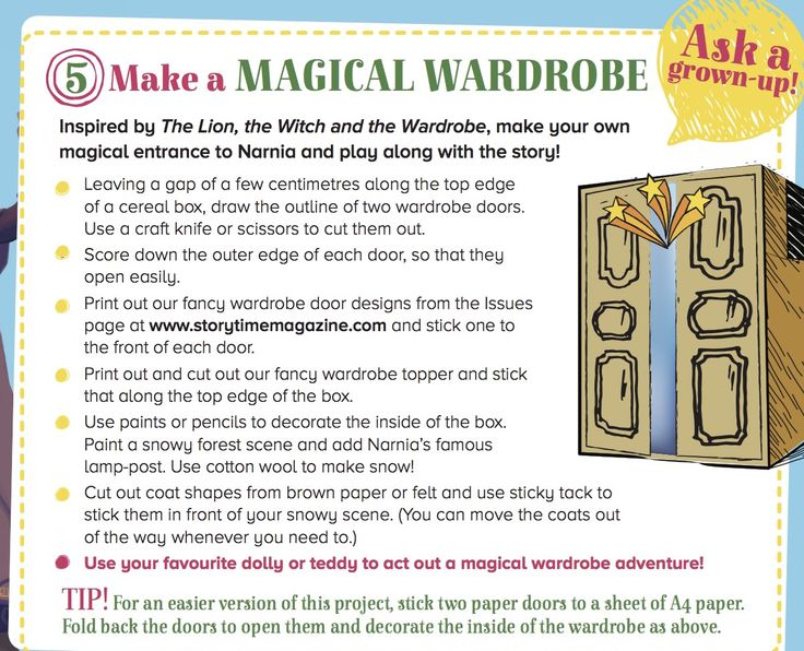 Make your own wardrobe to Narnia in Storytime Issue 13! Magic! ~ STORYTIMEMAGAZINE.COM