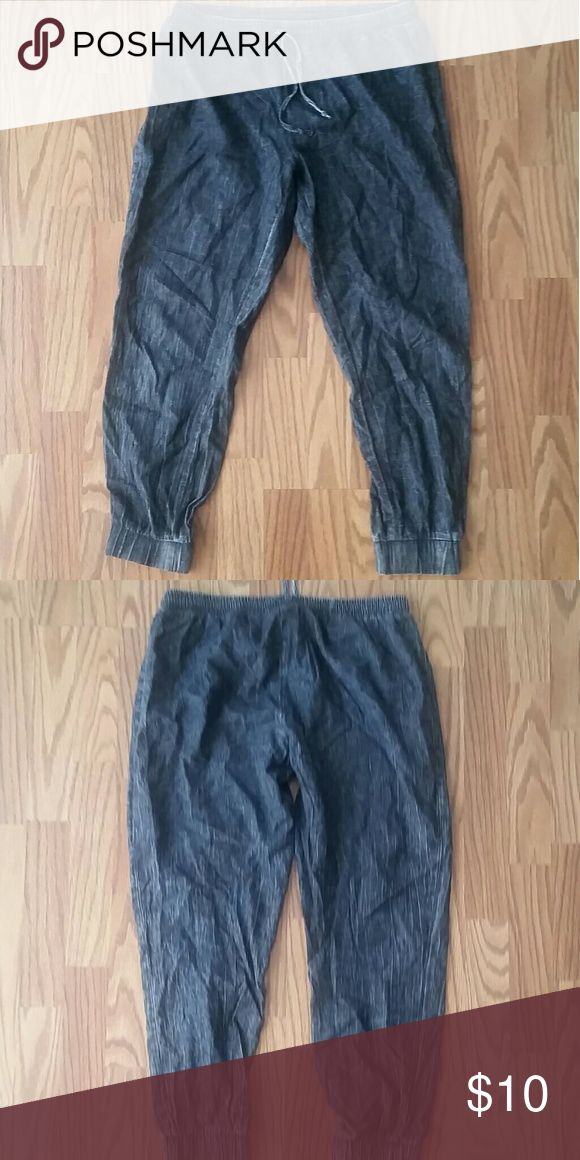Chambray Joggers Barely worn, practically new. They're soft and thin, great for warmer weather.  My styling would be casual with a relaxed white tank and bralette with sandals or sneakers, or boho with the same but a kimono and wide brimmed hat and heeled booties, ideal for the cooler warm days. Can fit women's M Pants Track Pants & Joggers