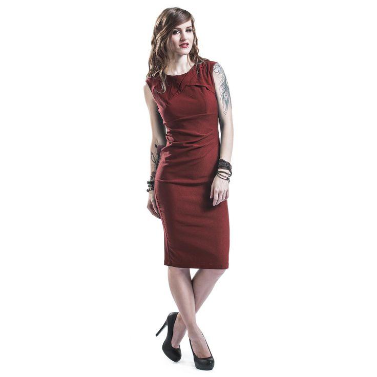 """Abito color borgogna """"Claudette"""" del brand #VoodooVixen con cerniera e spacco sul retro, taglio avvitato, modello smanicato. lu.: 100 cm circa."""