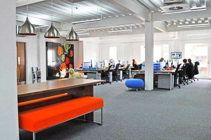 Coastal Housing: bof Symphony bench desks with Orangebox Joy mEsh task chairs, Allermuir Pebble and Pause stools.
