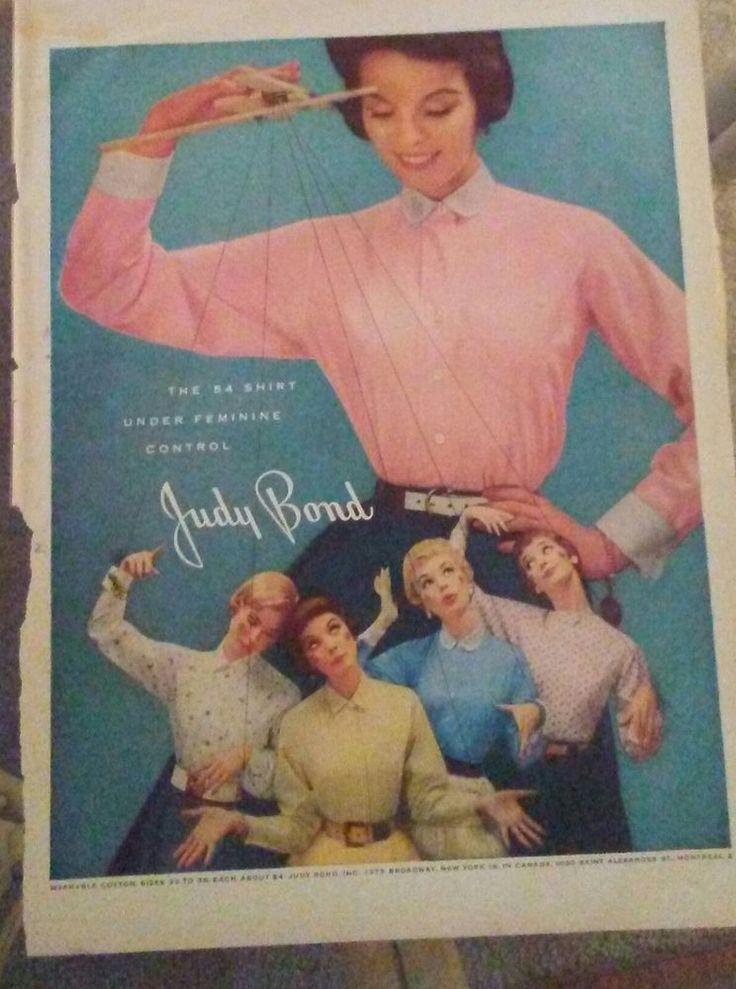 Vintage 1954 Judy Bond Blouses Under Feminine Control Puppet Master Print ad