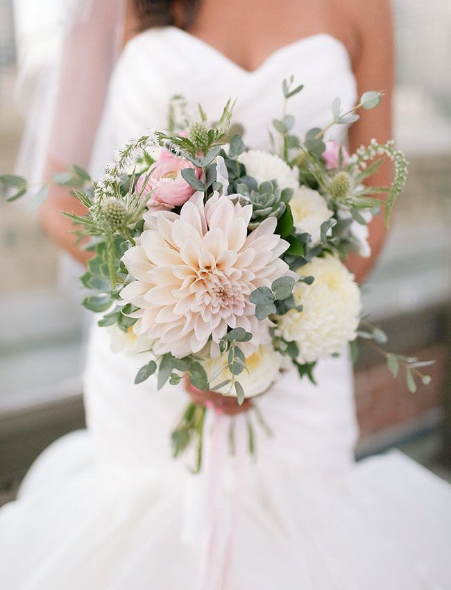 Blush pink dahlia bouquet