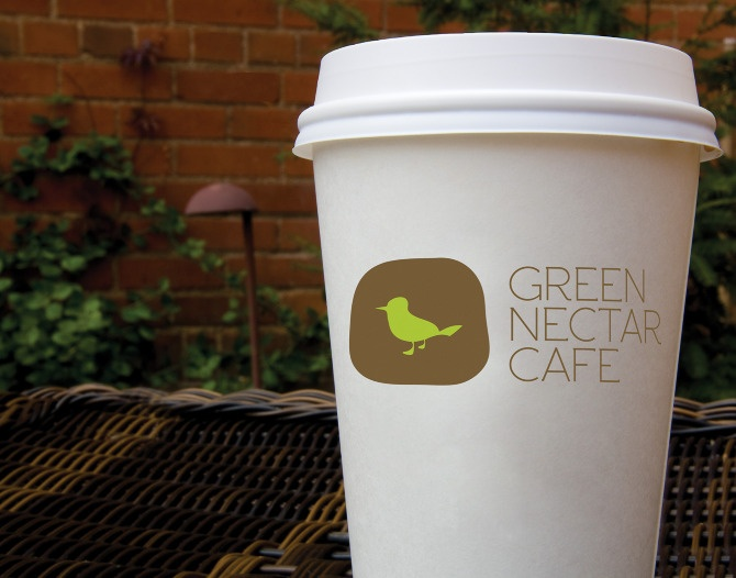 Green Nectar Cafe logo design and packaging.