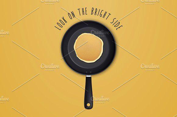 Pancake. Vector set.  by gomolach on @creativemarket