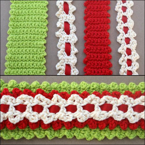 Crochet Scalloped Edging With Ribbon - Tutorial ❥ 4U hilariafina  http://www.pinterest.com/hilariafina/