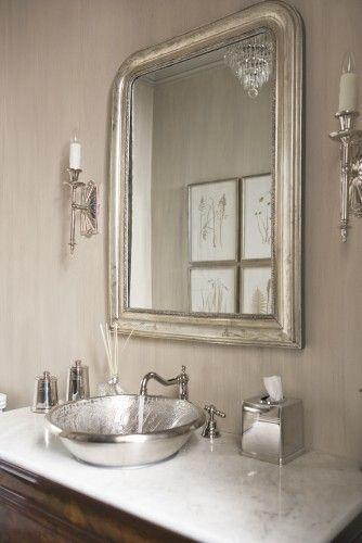 Adding a silver faucet is a no-brainer, but a silver sink? So cool!: Mirror, Decor, Interior, Linda Mcdougald, Bathroom Ideas, Powder Rooms, Design, Silver Bathroom