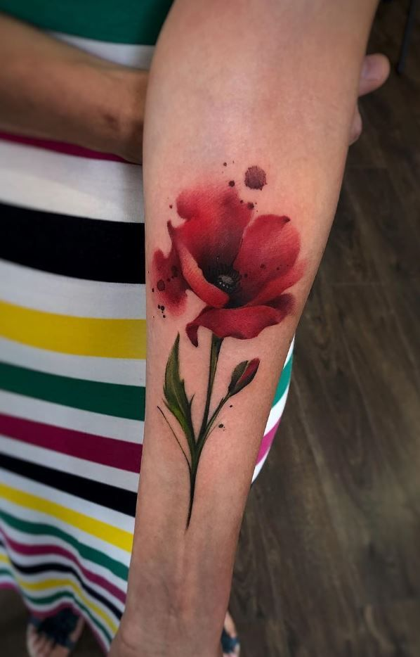 Watercolor Poppy Tattoo Coquelicot Tatouage Tatouage Fleur