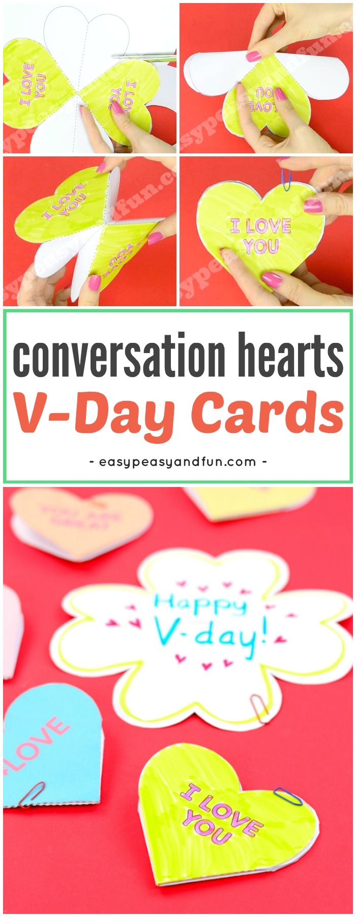 Conversation Hearts Valentines Day Cards. Fun Valentine's day craft with printable templates for kids.