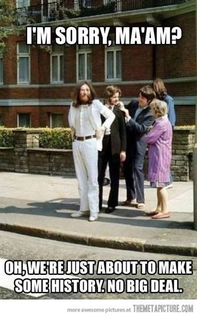 The Beatles, the day of the Abbey Road cover.