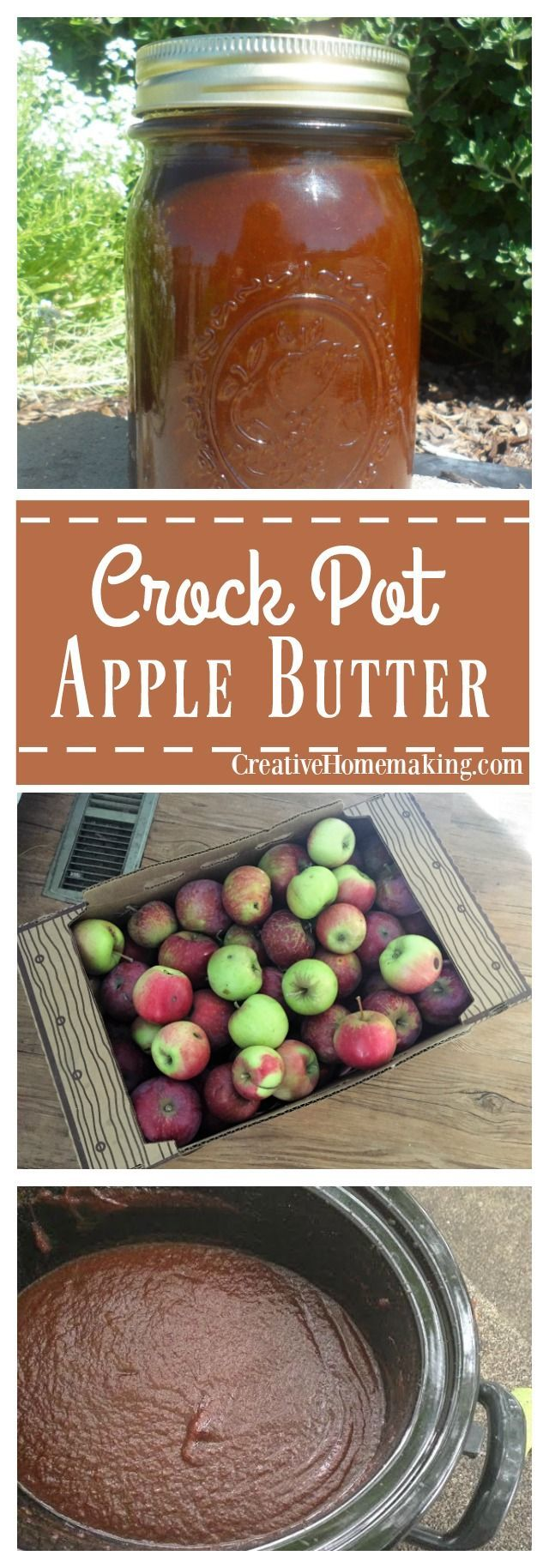 Easy recipe for apple butter made in your crock pot. Can it or freeze it for later.