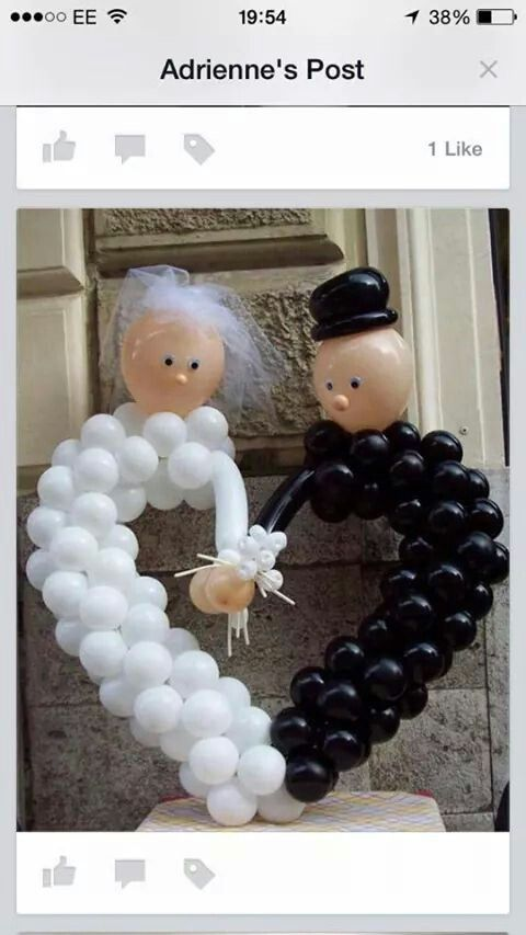 Bride and Groom Balloon Heart. I would like it better if the faces were leaned in kissing