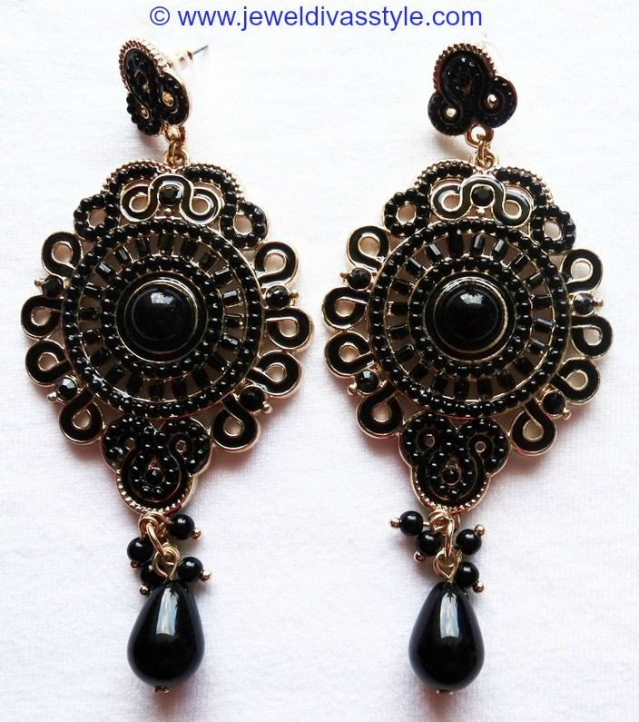 JDS - LARGE ROUND BLACK EARRINGS - http://jeweldivasstyle.com/my-personal-collection-new-black-white-and-brown-jewellery/