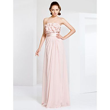 Prom+/+Military+Ball+/+Formal+Evening+Dress+-+Pearl+Pink+Plus+Sizes+/+Petite+Sheath/Column+Strapless+Floor-length+Chiffon+–+NOK+kr.+701