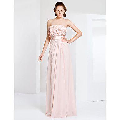 Prom+/+Military+Ball+/+Formal+Evening+Dress+-+Pearl+Pink+Plus+Sizes+/+Petite+Sheath/Column+Strapless+Floor-length+Chiffon+–+NOK+kr.+701