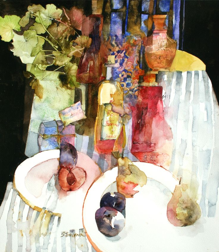 So much to look at in this wonderful watercolor still life by Shirley Trevena
