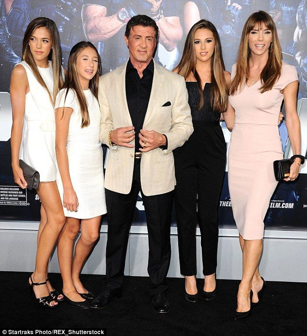 three daughters together including Sistine who is the middle child between 18-year-old Sophia and Scarlet, 12 - pictured together at Expendables 3 Premiere in 2014  Read more: http://www.dailymail.co.uk/tvshowbiz/article-3105241/Proud-dad-Sylvester-Stallone-shares-picture-alongside-budding-model-daughter-Sistine.
