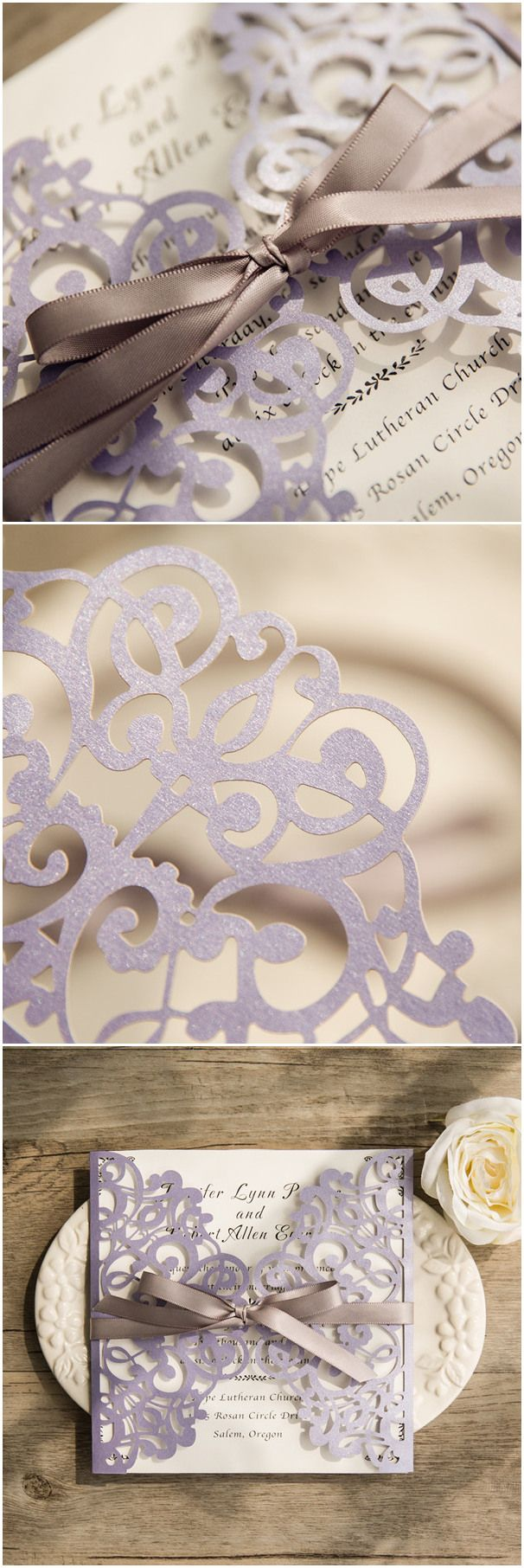 elegant laser cut wedding invitations for lavender and gray wedding color schemes @elegantwinvites